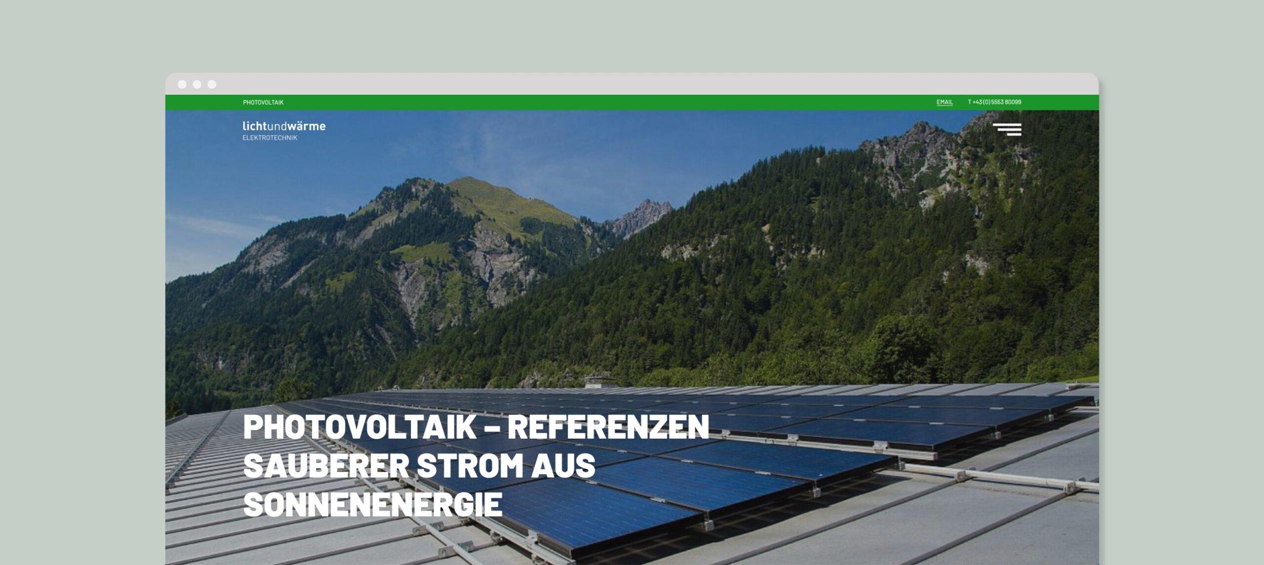 LichtundWärme Webseite Bildschirmfoto