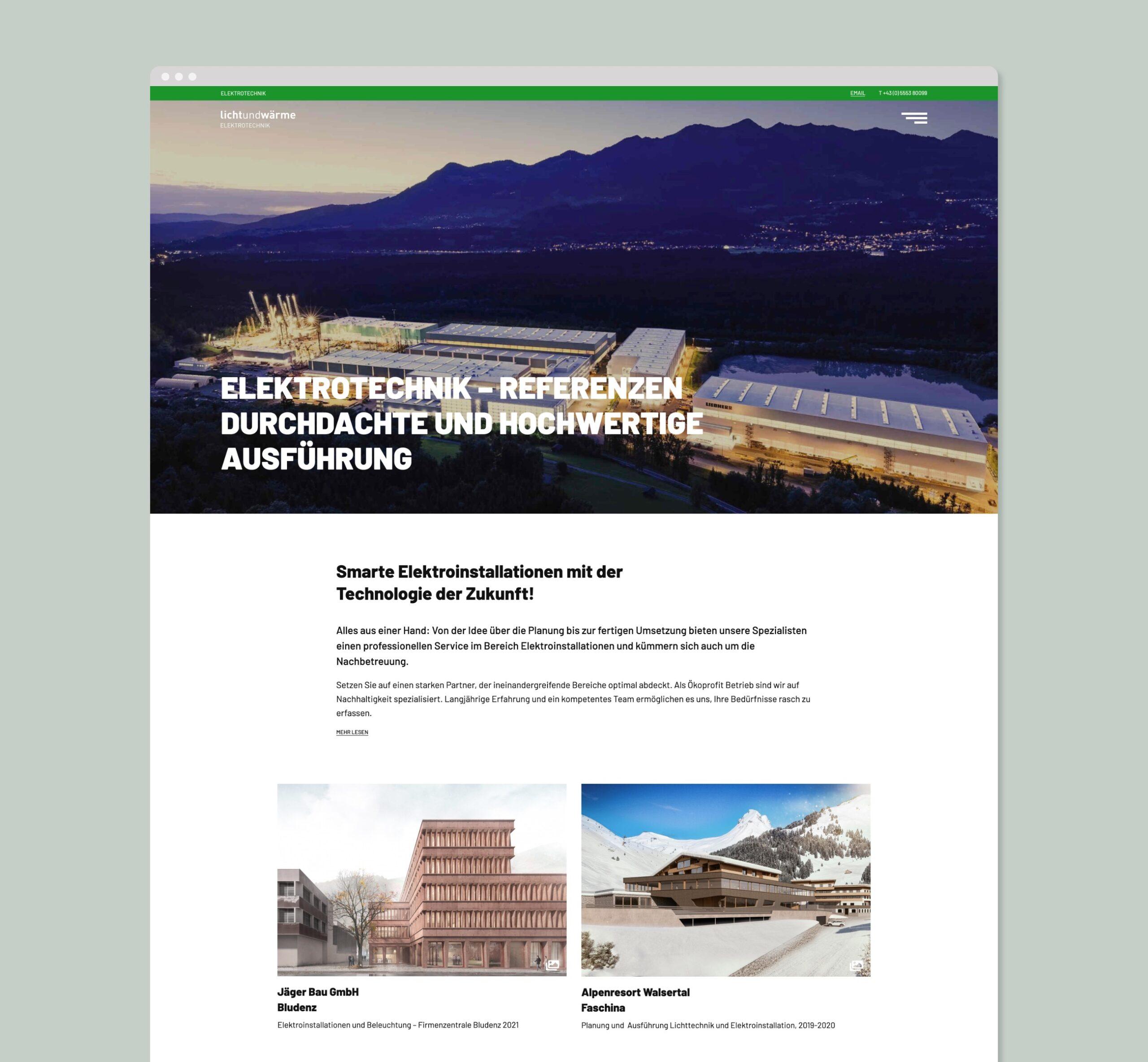 LichtundWärme Webseite Elektroinstallationen