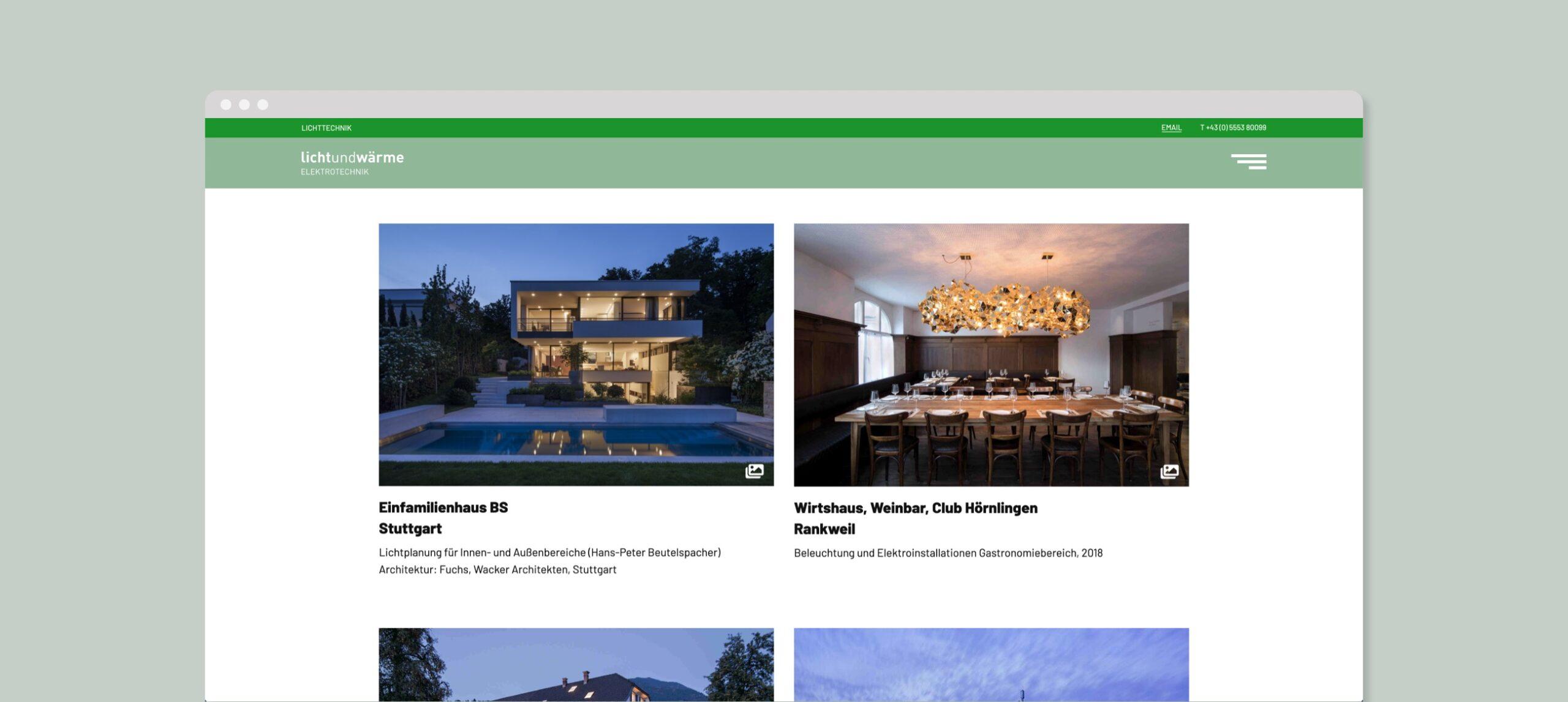 LichtundWärme Webseite Übersicht Projekte