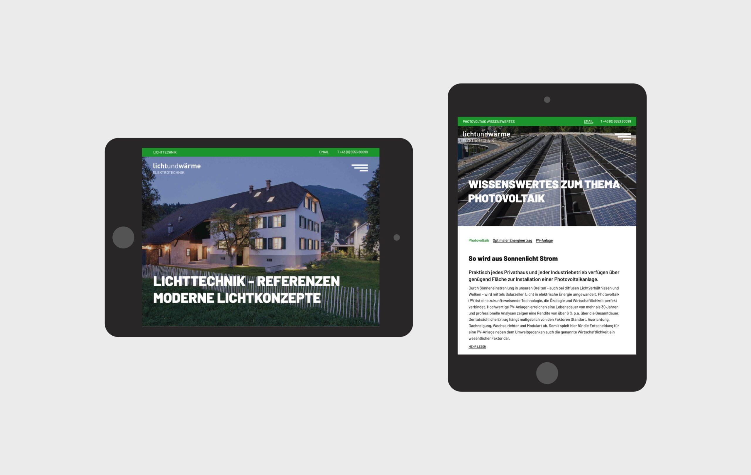 LichtundWärme Webseite Tablet