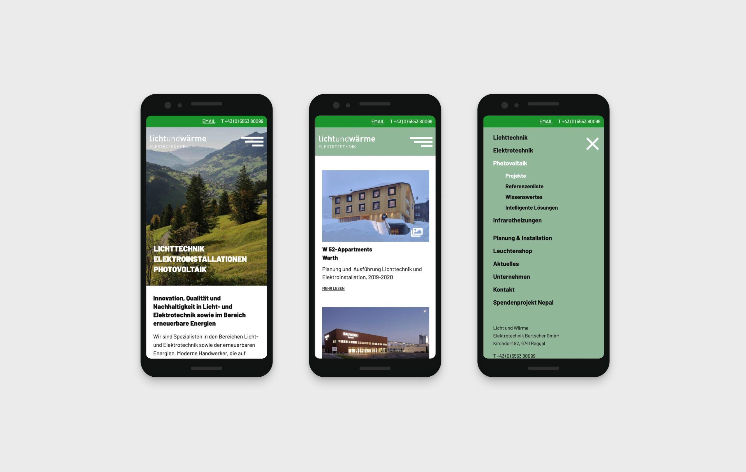 LichtundWärme Webseite mobile Ansichten
