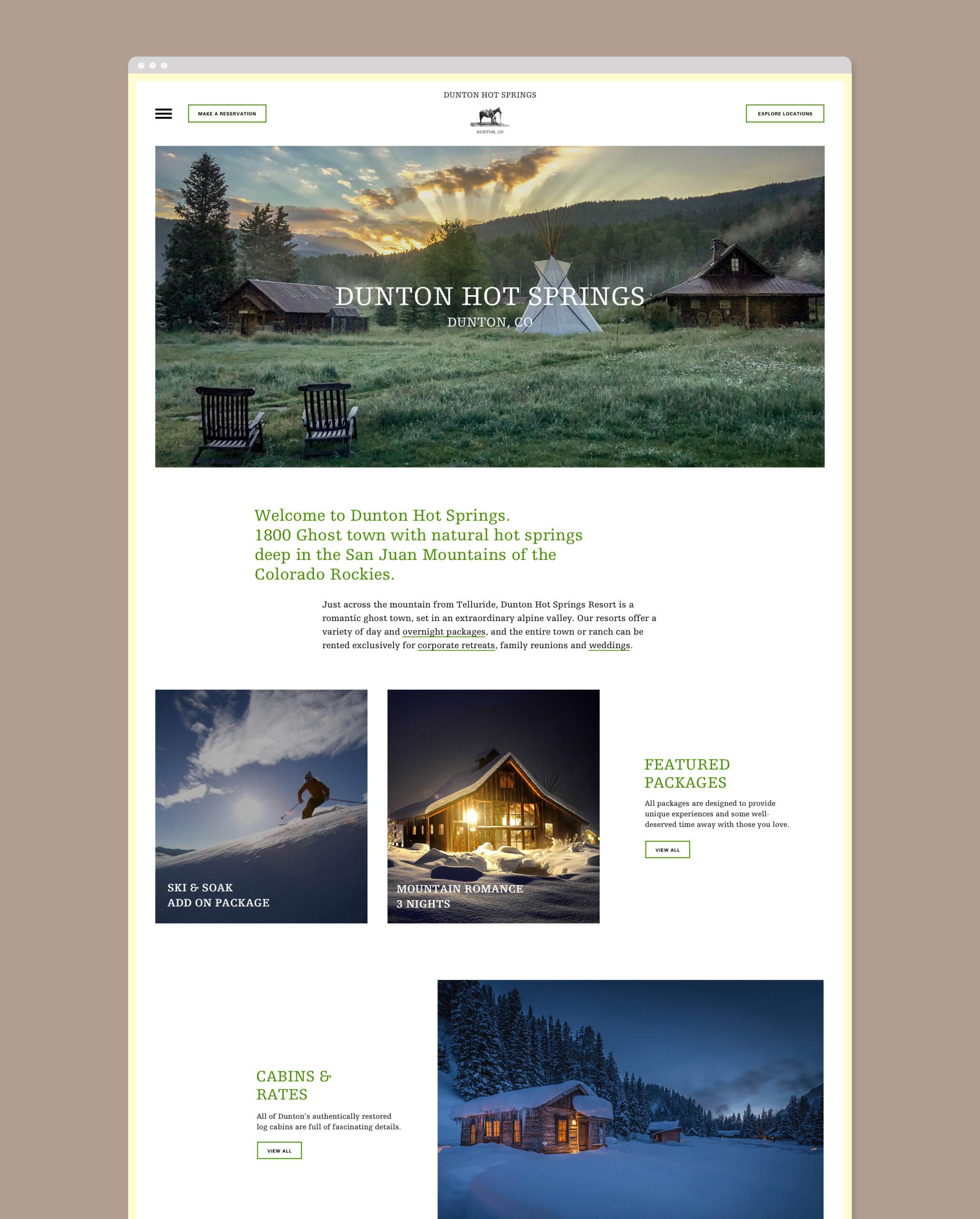 Dunton Hot Springs Webseite Home