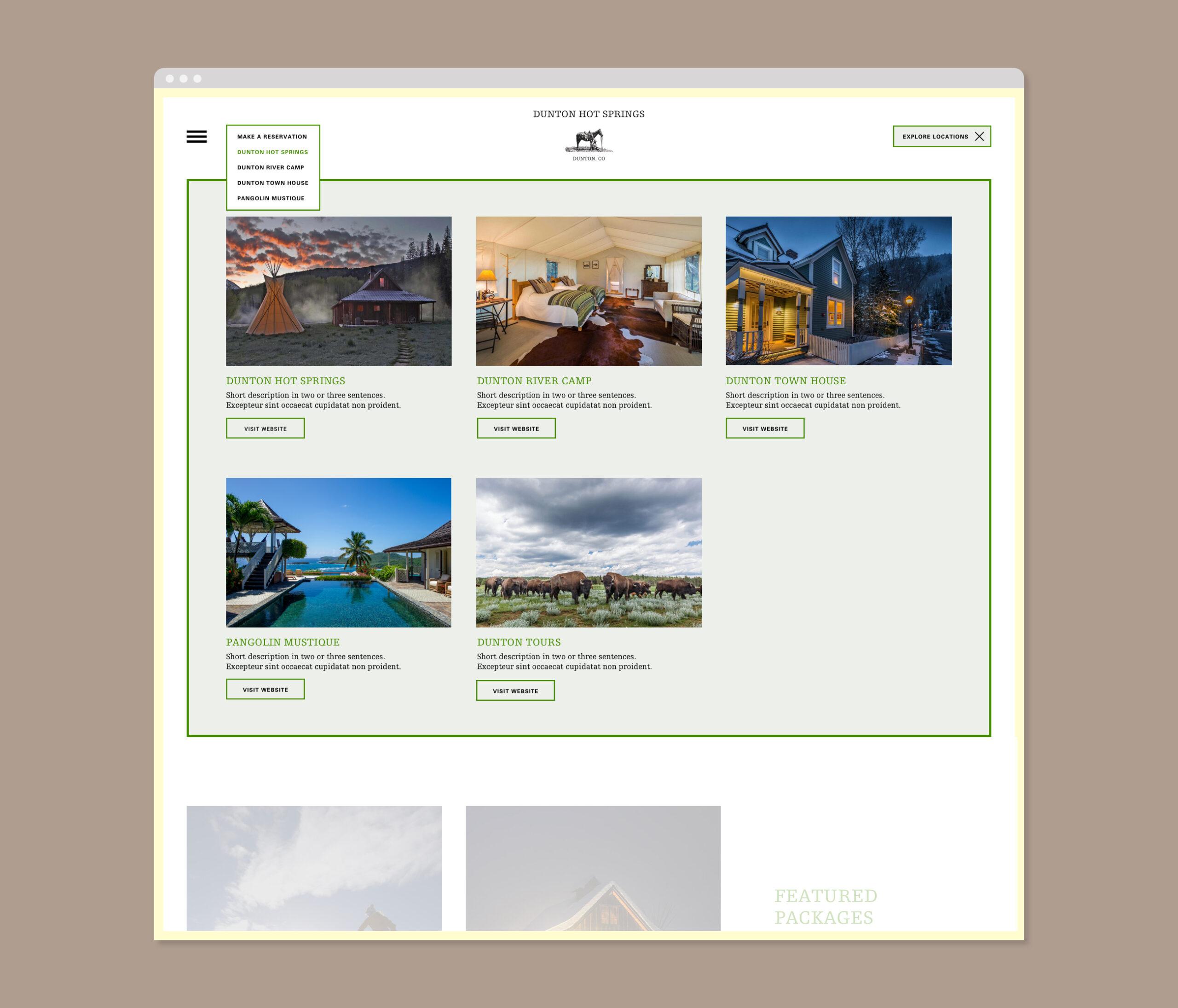 Dunton Hot Springs Webseite Menü