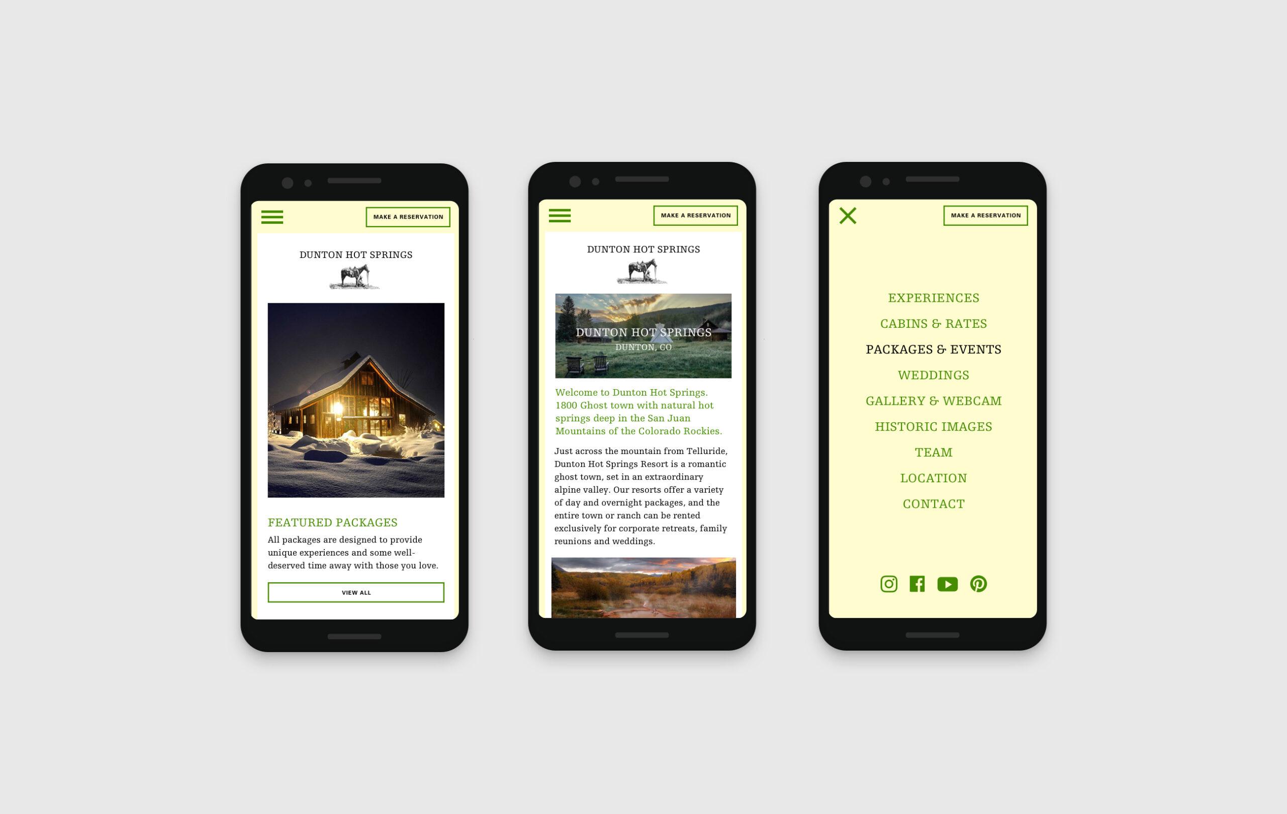 Dunton Life Webseite mobile Ansichten