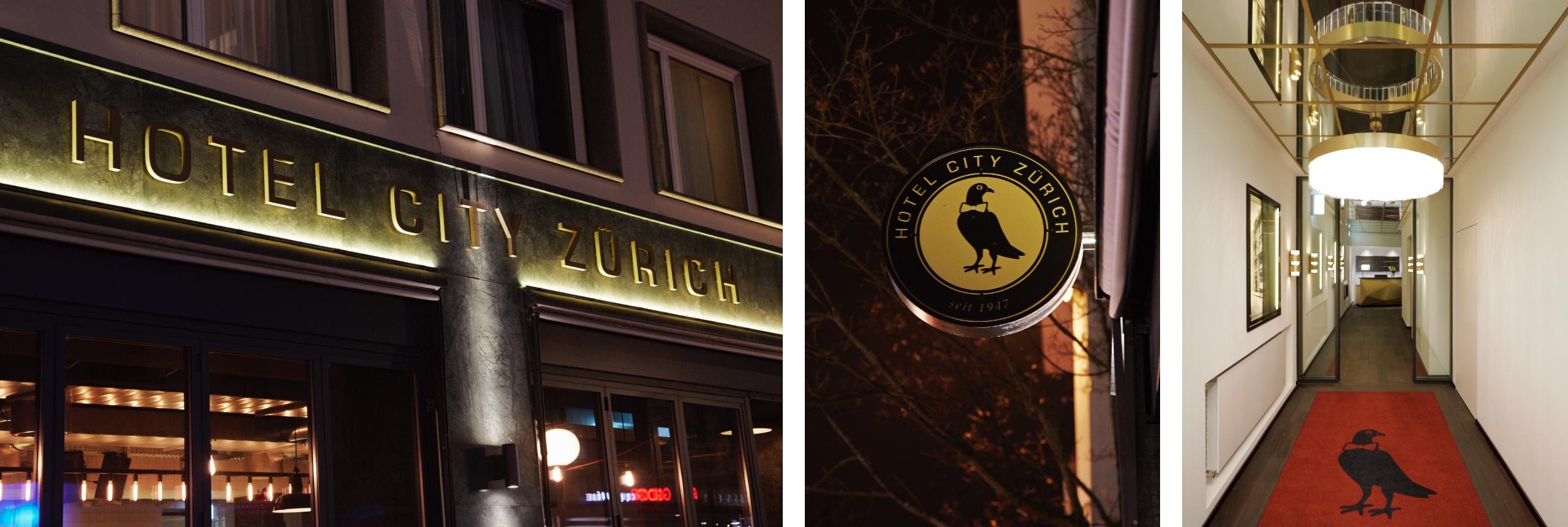 Hotel City Zürich Fassade, Logo, Lobby