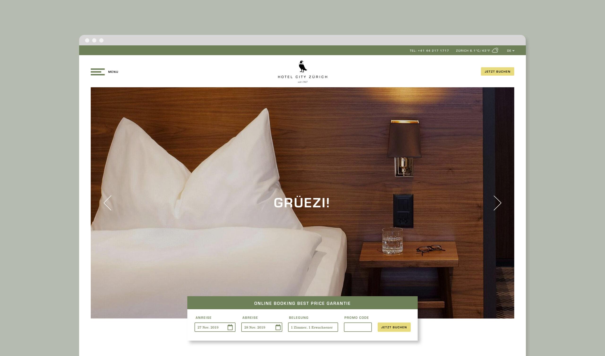 Hotel City Zürich Bildschirmfoto Webseite Home