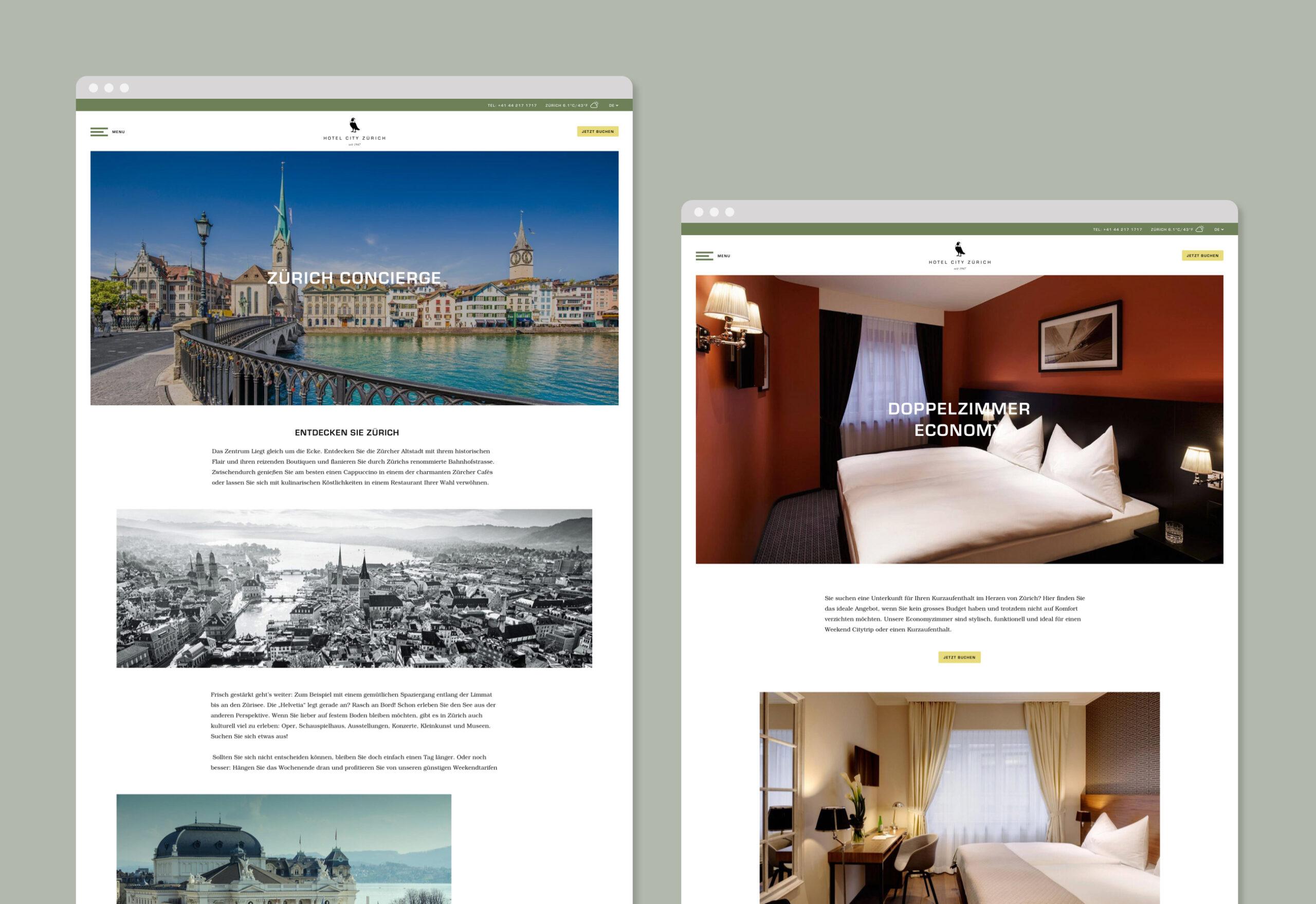 Hotel City Zürich Webseite Bildschirmfotos