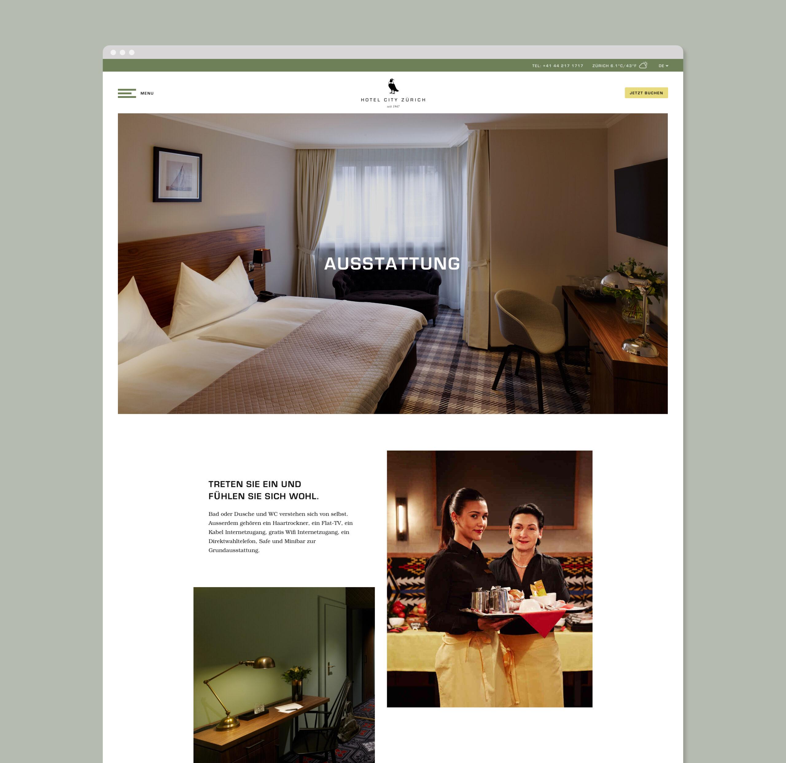 Hotel City Zürich Bildschrimfoto Webseite Ausstattung