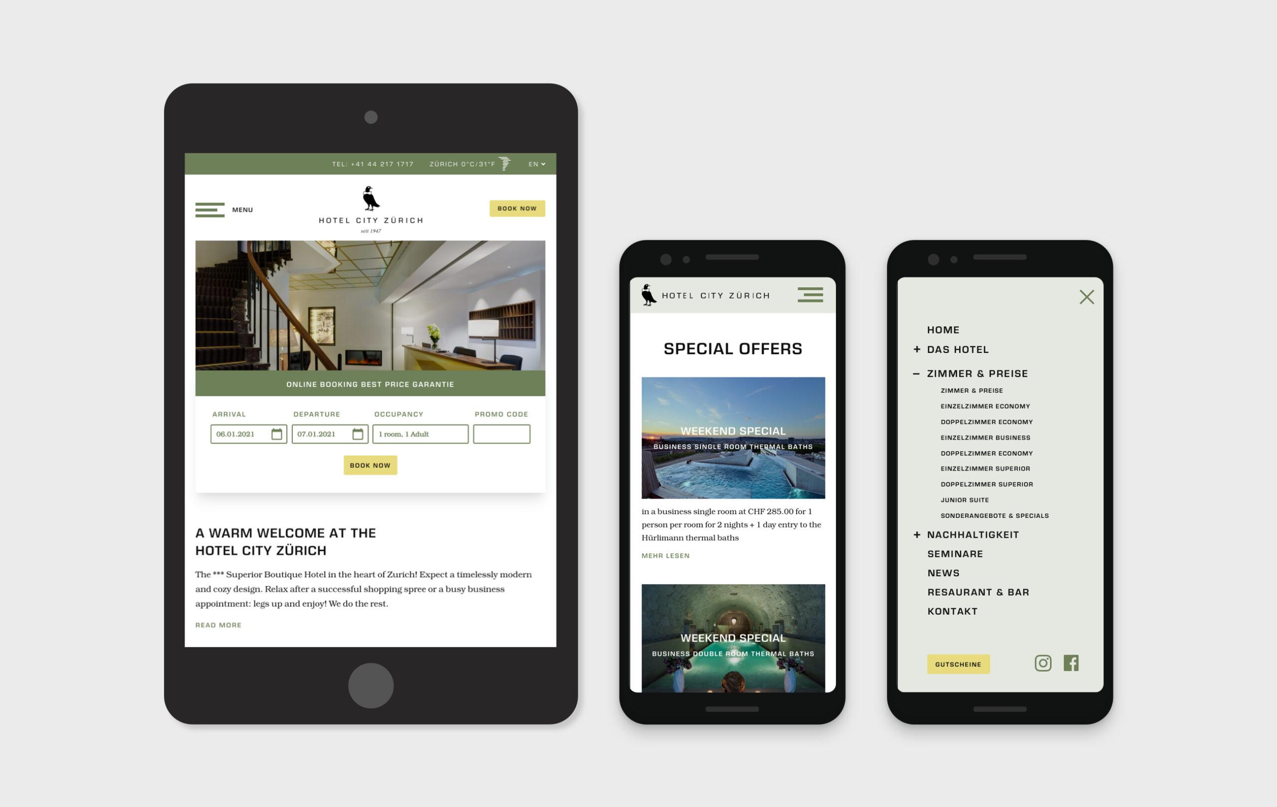 Hotel City Zürich Bildschirmfoto Webseite mobile Ansichten