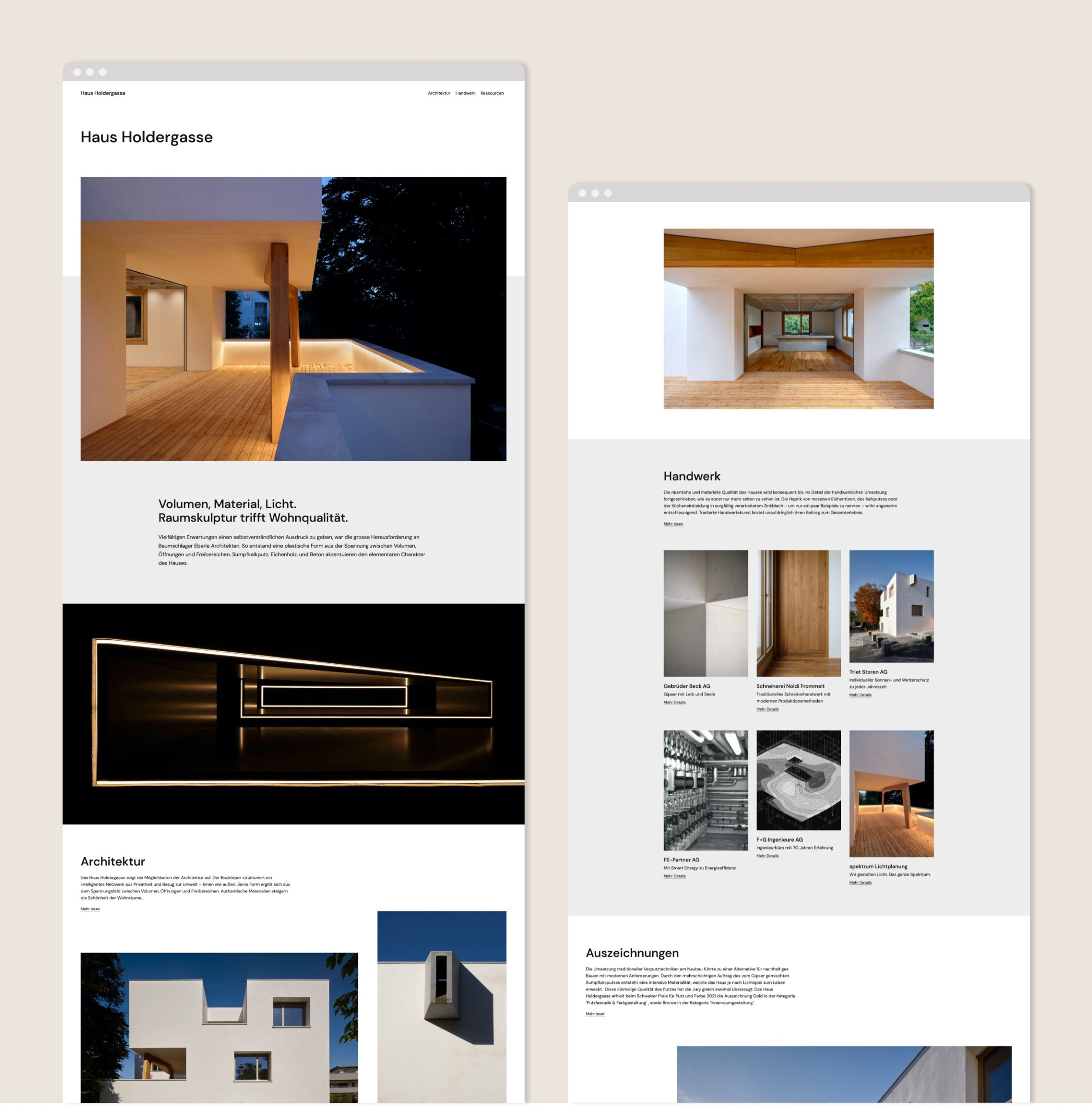 Haus Holdergasse Webseite Portfolio 1